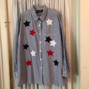 Ladies shirt tunic appliqué stars XL flag colors